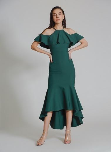 People By Fabrika Volanlı Abiye Elbise Yeşil